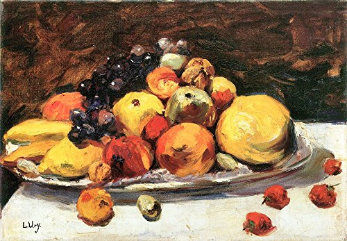 Das Museum Outlet–Fruit Still Life on a weiß Decke von Lesser Ury, gespannte Leinwand Galerie verpackt. 40,6x 50,8cm