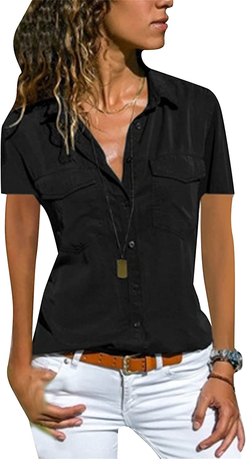YMING Womens Short Sleeve Button Down Shirt Casual Solid Color Blouse Lapel Collar V Neck Work Tops Plus Size