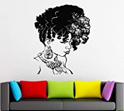 Afro Wall Art Decals Decor - Afro American African Girl Hair Black Women Salon Stickers - Afro Decorations Pictures Posters Motivational Inspirational Quotes AA065