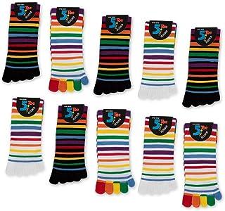 sockenkauf24, Mujer Calcetines de cinco dedos Multicolor Ringel 5 o 10 pares