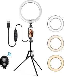 TAOCOCO 12 Pulgadas LED Anillo de Luces con Soporte, Luz de Maquillaje, Equipo de Youtube, 3 Modos de Color y 11 Brillo, luz de Anillo y Soporte para Video/fotografía/VLOG