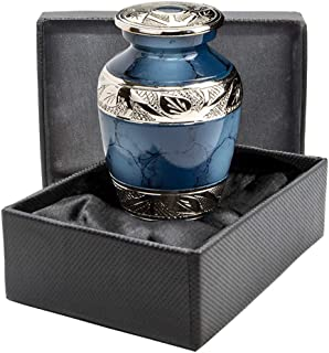 Heavenly Peace Dark Blue Small Keepsake Urn for Human Ashes - Qnty 1 - Beautiful Classic Sharing Urn with Case