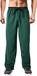 Wohthops Men's Casual Sweatpants Elastic Waist for Workout and Training Loose Fit with Zipper Pockets