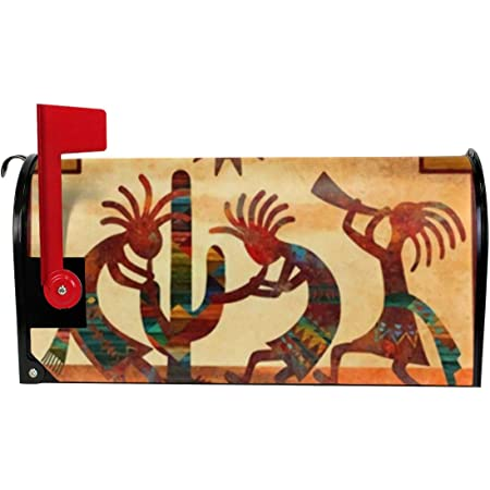 Amazon Com Tidyki Southwest Native American Kokopelli Decorative Mailbox Makeover Cover Magnetic Mailwraps Welcome Mailbox Wraps Post Box Garden Yard Home Decor For Outside Standard Size 21x18 In Garden Outdoor