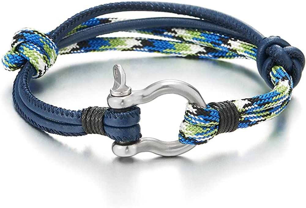 COOLSTEELANDBEYOND Mens Women Steel Screw Anchor Shackles Nautical Sailor Rope Cord Leather Wrap Bracelet Wristband