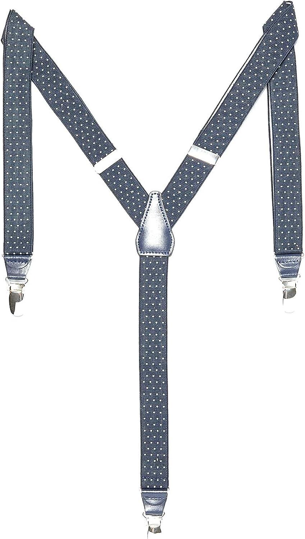 Zara Men's Narrow Polka Dot Clip on Suspenders, Navy Blue, M