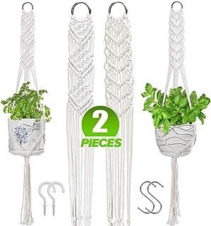 VENROII Macrame Plant Hangers, Set of 2 Indoor Outdoor Boho Hanging Plant Stand Basket Wall Flower Pot Hanging Holder Home...