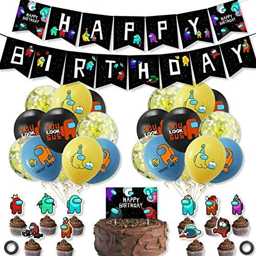 Among Us Themed Birthday Party Decorations Supply Accessories, Happy Birthday Banners Balloons and Decorations Garland Set for Kids Children Boys and Girls (B)