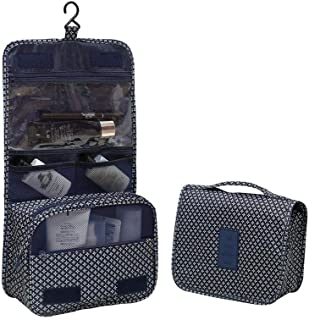 dark blue star portable waterproof cosmetic makeup toiletry travel hanging organizer storage bag pouch