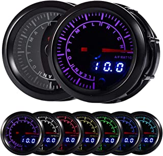 "HOTSYSTEM 7 Color Pyrometer Exhaust Gas Temperature EGT Gauge Kit 300 to 1300 Celsius Pointer & LED Digital Readouts 2-1/16"" 52mm Black Dial for Car Truck(Celsius)"