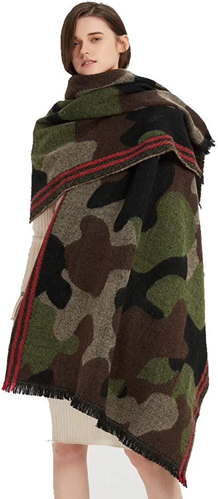 Camouflage Shawl Wrap Cashmere Scarf Poncho Trave Oversized Cape Same day National products shipping