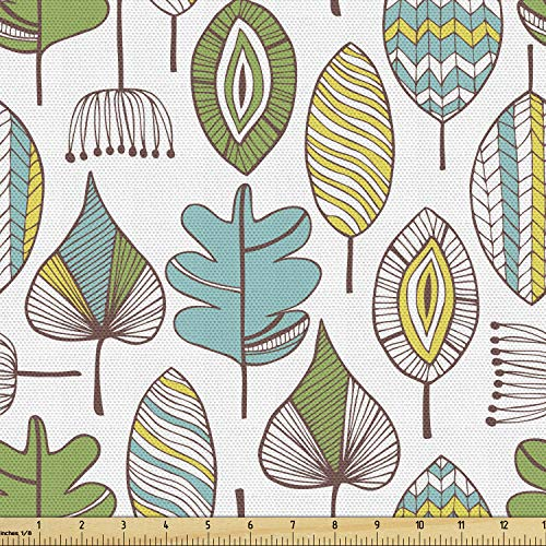 Ambesonne Tree Fabric by The Yard, Scandinavian Design Leaf Modern Scribble Artwork Retro Style Forest Foliage, Decorative Fabric for Upholstery and Home Accents, 3 Yards, Teal White