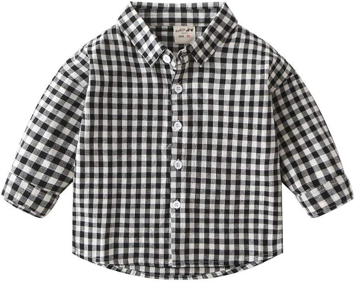 Rabuet Boy 's Cotton Plaid Sleeve Button Down Causal Shirts