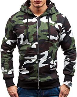 Men Fashion Long Sleeve Thicken Camouflage Print Casual Hoodies Sweatshirt