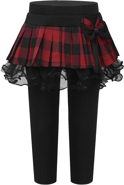 Agoky Kids Girls Casual Ealstic Waistband Footless Leggings with Plaid Mesh Tutu Skirt Cotton Lined Pantskirt Set