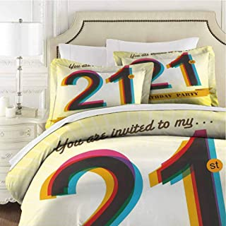 21St Birthday Bedding 3-Piece Full Bed Sheets Set,Bedding Set All Season Quilt Set Invitation to an Amazing Birthday with Zipper Closure Ultra