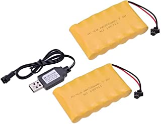 2pcs 7.2V 700mAh Ni-Cd AA Battery Pack Rechargeable For Remote Control Electric Car Toys SM-2P Plug Nicd 7.2V Volt Battery