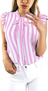 Women's Summer Blouse Stylish Striped Shirt Tie Bowknot Tops