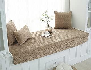 Lutanky Modern Bay Window Cushion Windowsill Pad Simple Crystal Velvet Tatami Mats Couch Slipcover Non-Slip Sofa Protector Cover Soft Floor Mats (Coffee, 70 x 150cm (27x59inch))