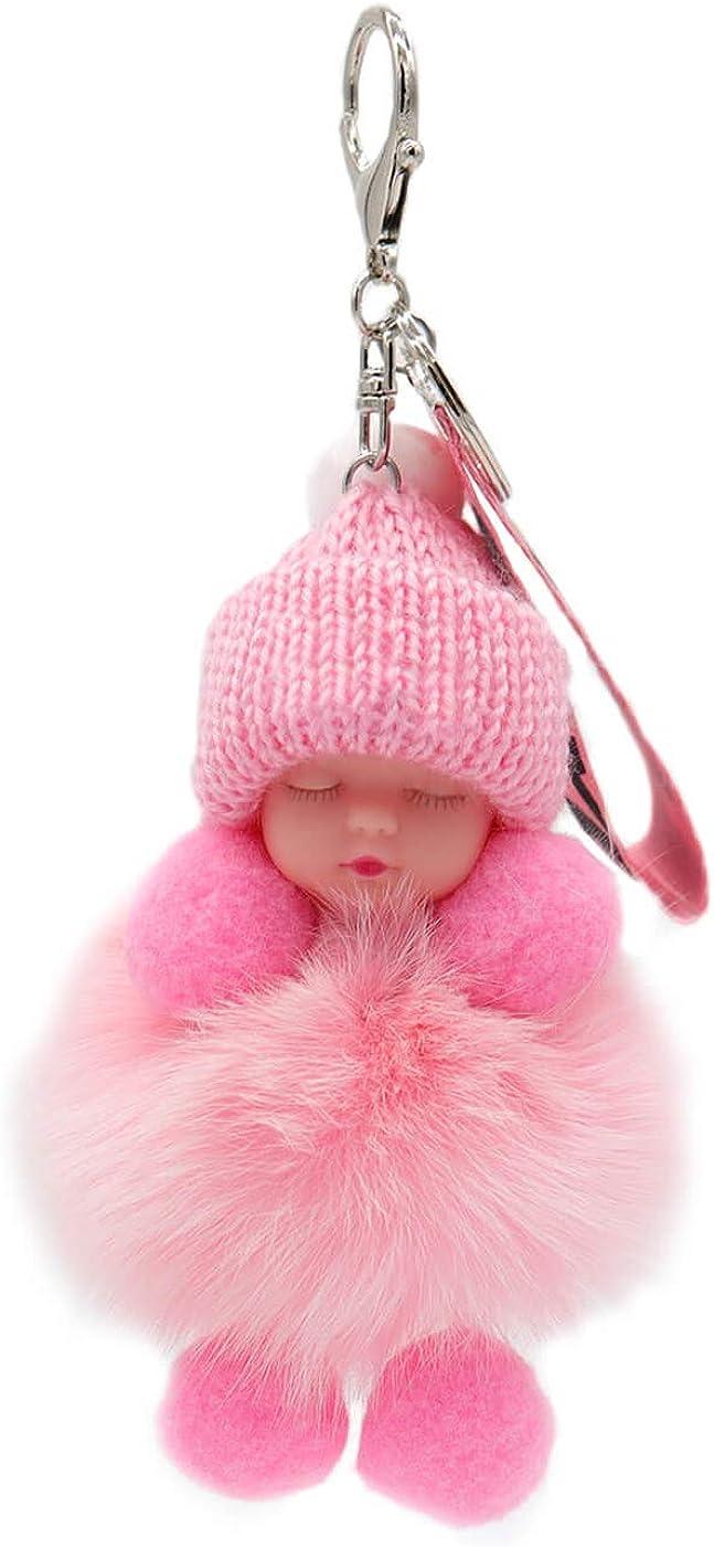 surell Genuine Fox Fur Baby Keychain - Pom-Pom Bag Purse Charm - Silver Ring Fluffy Fur Ball - Fashion Gift (Pink)