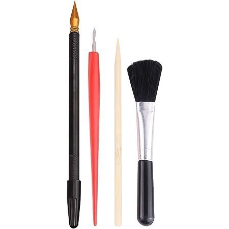 4PCS Outils à Gratter, Migaven Scratch Art Outils de Conception Set avec Un Bâton pour Grattoir Un Pinceau Noir Pour Scratch Art