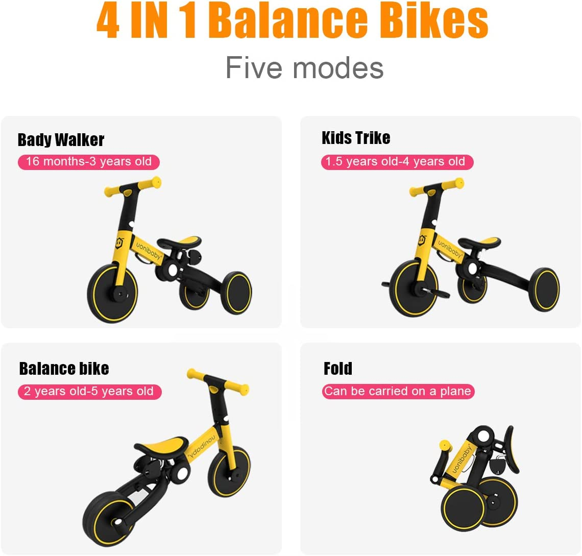 OLYSPM 5 in 1 Laufräder Kinder Dreirad Lauflernhilfe,leichtes Kinderrad Lauflernrad faltbar Kinderlaufrad,mit Schubstange Kinderdreirad,laufrad ab 1.5 Jahre bis 5 Jahren Hellblau