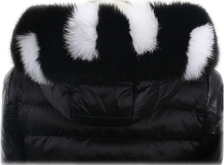 Qmfur Women's Winter Real Fox Fur Collar Scarf Wrap Collar Shawl