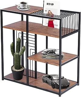 GreenForest 4 Tier Bookshelf Vintage Open Bookcase Storage Display Shelf with Metal Frame for Home Office,Walnut