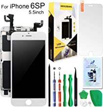 Screen Replacement for iPhone 6S Plus White,Hkhuibang 5.5'' Upgraded LCD Display 3D Touch Screen Digitizer Full Frame Assembly with OEM Front Camera Proximity Sensor Earpiece Speaker+Repair Tools Kit