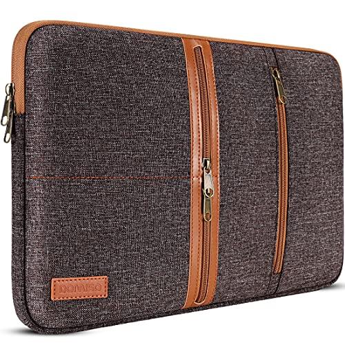 DOMISO 10,1 Pulgadas Laptop Sleeve Canvas portátil con Cremallera Tablet Bolsa Bolsa 3 Capas de protección Bolsa 3 Bolsillos Caso para 12' MacBook / 10.8' Microsoft Surface 3, Marrón