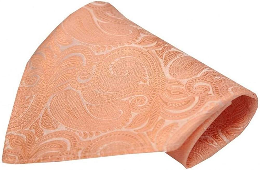 David Van Hagen Mens Luxury Paisley Silk Handkerchief - Peach Orange