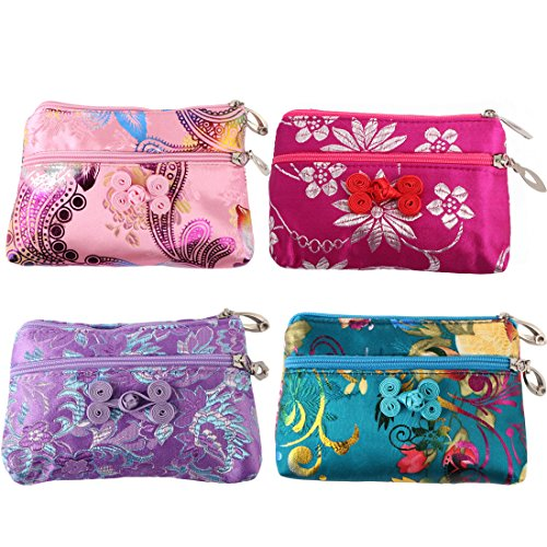 kilofly 4 pc Chinese Silk Brocade 2 Zipper Purse Jewelry Bag Gift Pouch Set