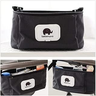 Baby Stroller Organizer Bag, Pram Buggy Organiser Storage Bag for Buggies, Diaper Bag Hanging Bottle Holder for Pushchair, with Sticky, Straps & Clips, Universal. (Black)