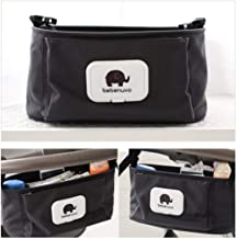 Kinderwagen Organizer, Universale Baby Kinderwagentasche mit Reißverschluss, Unverzichtbares Kinderwagen-Zubehör Aufbewahrungstasche Stil 1_ Schwarz