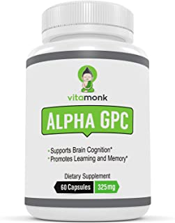 Alpha GPC Capsules by VitaMonk™ - Bioavailable Choline Supplement to Support Brain Cognition - 60 Alpha-GPC 325mg Capsules - No Artificial Fillers