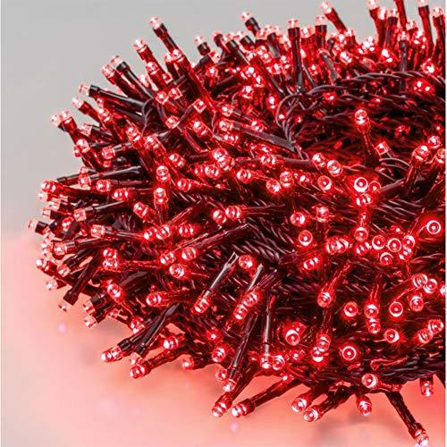 1500 LED 70M Luci Albero di Natale Luci di Natale Esterno ed Interno Catena Luminosa 8 Modalità Luci da Stringa per Esterni, Giardini, Case, Matrimonio, Natalizie (Rosso)