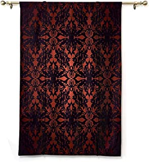 S Brave Sky Waterproof Roman Blinds,Victorian,Medieval Ancient Flowers with Leaves Ombre Design Image Artwork Print,Salmon Plum Black