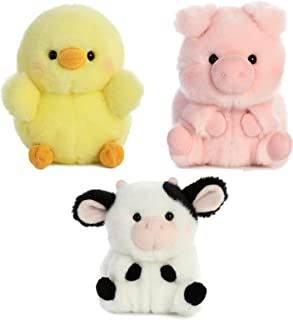 Aurora World Pig, Cow and Chicken Stuffed Animal Plush Toy | Farm Animals Theme | Bundle of 3 Rolly Pet Items, 5 inches Each