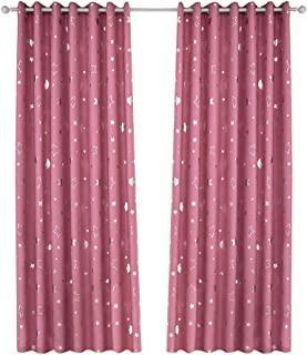 Vosarea Blackout Window Curtain Stars Moon Thermal Insulated Noise Reducing Grommet Top Window Treatment for Girls Room 100x250cm (Pink)