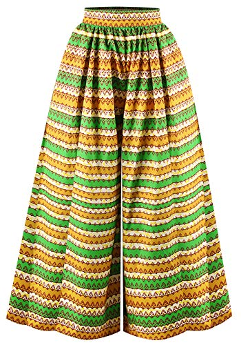 EnlaChic Women's African Print Casual A-Line Maxi Flared Skirt,Circle,S