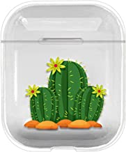 Compatible for AirPod Case Premium Clear TPU Gel Ultra-Thin [Slim Fit] Transparent Flexible Cover [Front LED Visible] for AirPods 1 and 2 -Cactuses