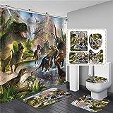 xingyundeshoop Jurassic World Cortina De Ducha Impermeable Lavable Baño Tejido De Poliéster Alfombrilla De Baño Traje De Cuatro Piezas 150 (Ancho) X180 (Alto) Cm