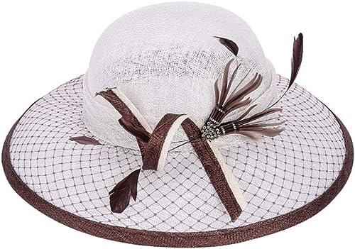 LIULAOHAN Unisexe Chapeau de Soleil pour Femmes Kentucky Derby Réglable Organza Grand Bord Floppy Prougeection UV Caps Cap De Plage pour Le Mariage De L'église Chapeau Parfait