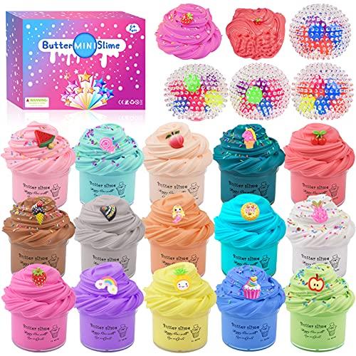 Fai da Te Fluffy Slime Kit –Confezione da 19 Butter Slime Kit, 15 Colori di Argilla, con 4 palline antistress, unicorno e accessori per la Slime di frutta, Slime giocattoli per per Ragazze Ragazzi