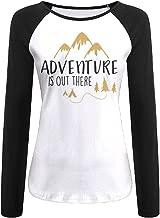 Creamfly Womens Adventure Is Out There Mountain Long Sleeve Raglan Baseball Tshirt