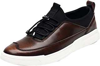 QYY-8837 New Mens Leather Leisure Cozy Charming Comfy Warm Walking Shoes Brown 39.5 EU
