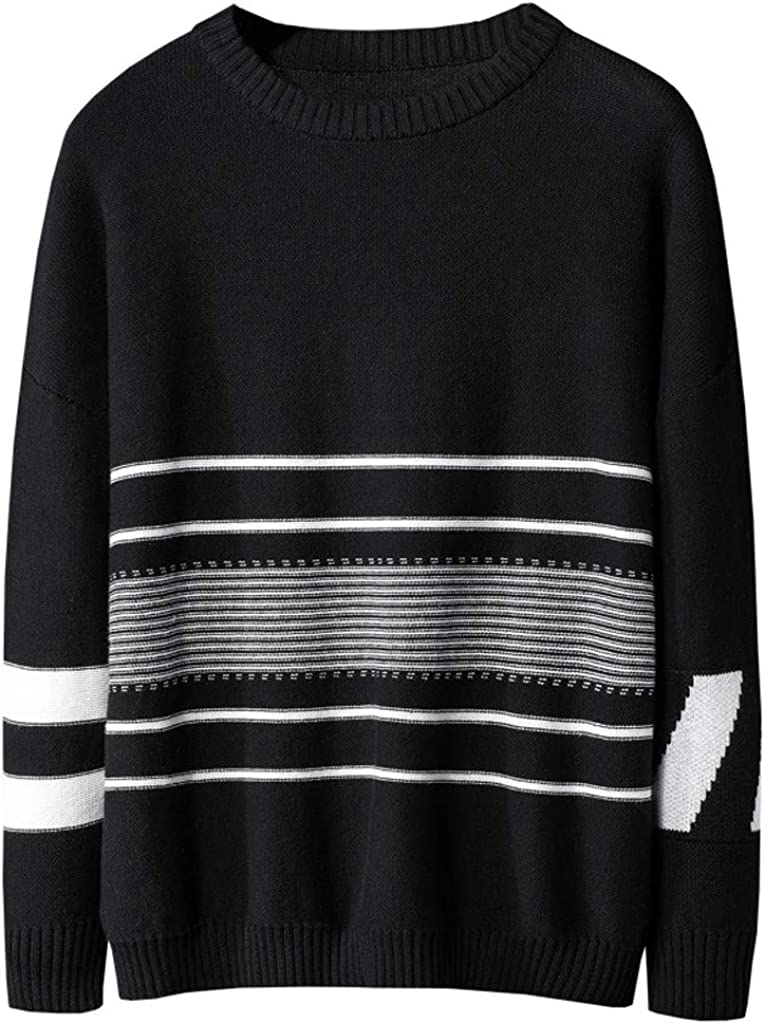 Pullover Sweaters Men, NRUTUP Winter Sweaters Regular Fit Sweater, Striped Cool Sweater, Wool Sweater Casual Work