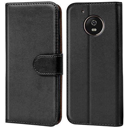 Verco Moto G5 Plus Hülle, Handyhülle für Motorola Moto G5 Plus Tasche PU Leder Flip Hülle Brieftasche - Schwarz