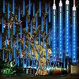 Meteorlichter Éclairage de douche Étanche avec 192 LED, 8 tubes, Guirlande Lumineuse Extérieure pour extérieur de Noël, Guirlande Guinguette Exterieure de pluie pour Fête, Mariage, sapin de Noël, Bleu