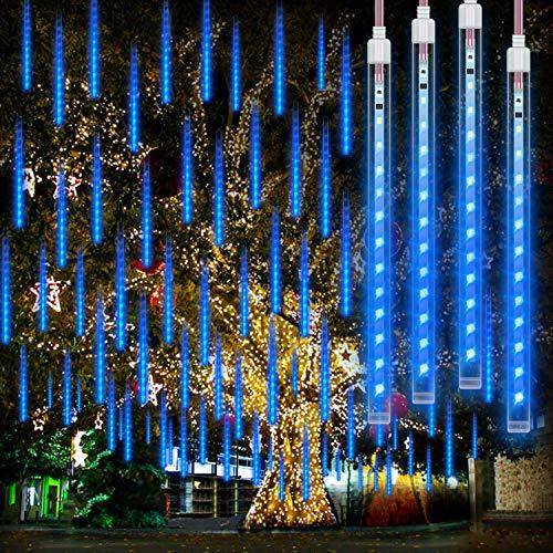 Meteorlichter Duschleuchten Wasserdichte 192 LEDs Fallende Regenlichter 11,8 Zoll 8 Röhren Outdoor Weihnachten Eiszapfen Lichter Regentropfen Kaskadenlicht für Hochzeitsfeier Weihnachtsbaum, Blau